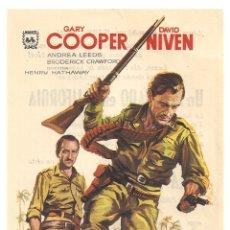Cine: PTCC 042 LA JUNGLA EN ARMAS PROGRAMA SENCILLO MAHIER GARY COOPER DAVID NIVE. Lote 165493978