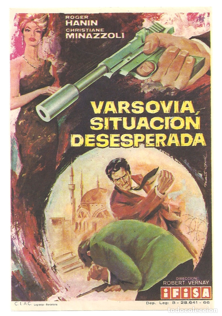 PTCC 042 VARSOVIA SITUACION DESESPERADA PROGRAMA SENCILLO IFISA ROGER HANIN ESPIAS EURO SPY (Cine - Folletos de Mano - Acción)