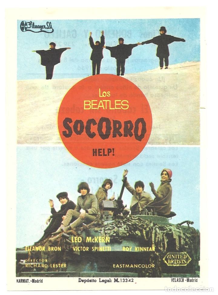 PTCC 042 HELP SOCORRO PROGRAMA SENCILLO FILMAYER THE BEATLES (Cine - Folletos de Mano - Musicales)