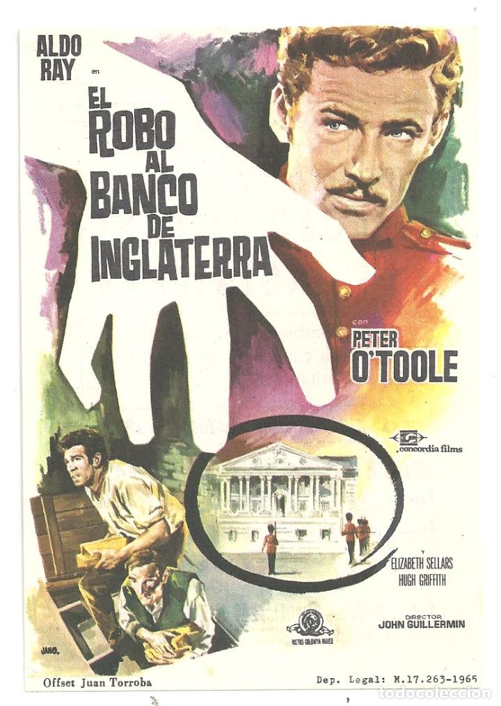 PTCC 042 EL ROBO AL BANCO DE INGLATERRA PROGRAMA SENCILLO CONCORDIA ALDO RAY PETER O'TOOLE (Cine - Folletos de Mano - Acción)