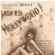 Cine: PTEB 061 ASI ES HOLLYWOOD PROGRAMA DOBLE MARRON EXCLUSIVAS DIANA WILLIAM HAINES. Lote 165518914