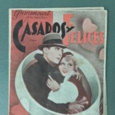 Cine: CASADOS Y FELICES - 1936 - PROGRAMA DE MANO DOBLE. Lote 165539734