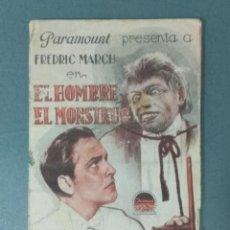 Cine: EL HOMBRE Y EL MONSTRUO - 1931 - PROGRAMA DE MANO DOBLE.. Lote 165539974