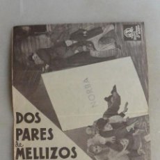 Cine: FOLLETO CINE DOBLE MANO DOS PARES DE MELLIZOS. CINE NORBA DE CACERES. OLIVER HARDY. Lote 165617210