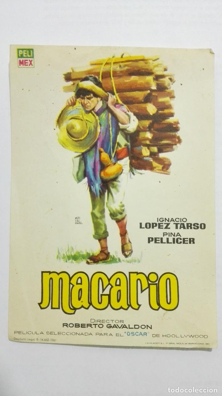 FOLLETO DE CINE, MACARIO, AÑOS 60, SIN PUBLICIDAD (Cine - Folletos de Mano - Comedia)