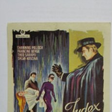 Cine: FOLLETO DE CINE, JUDEX, AÑOS 60, SIN PUBLICIDAD . Lote 165672222