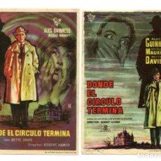 Cine: DONDE EL CÍRCULO TERMINA, CON BETTY DAVIS. . Lote 165685430