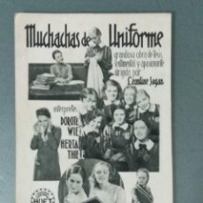 Cine: MUCHACHAS DE UNIFORME - 1933 - PROGRAMA DE MANO EN FORMA DE TARJETA. Lote 165734110