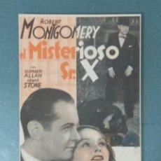 Cine: EL MISTERIOSO SR. X - 1944 - TARJETA PROGRAMA. Lote 165734446