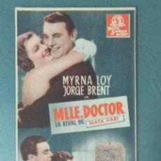Cine: MLLE DOCTOR. TARJETA PROGRAMA. Lote 165734646