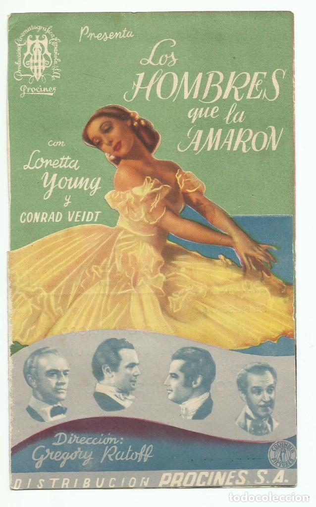 PROGRAMA DE MANO ORIGINAL DOBLE DE CINE LOS HOMBRES QUE LA AMARON 1945 (Cine - Folletos de Mano - Comedia)