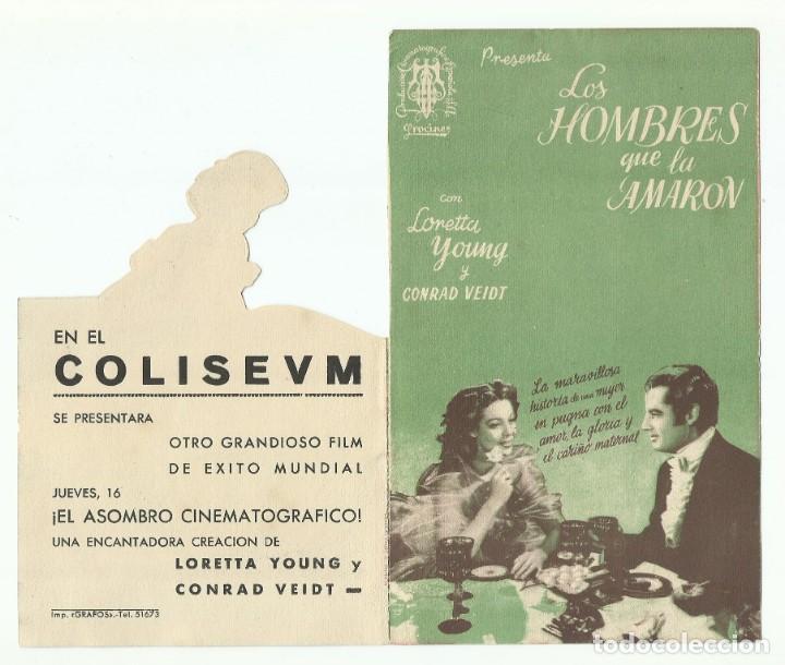 Cine: Programa de Mano Original Doble de cine LOS HOMBRES QUE LA AMARON 1945 - Foto 3 - 165753658