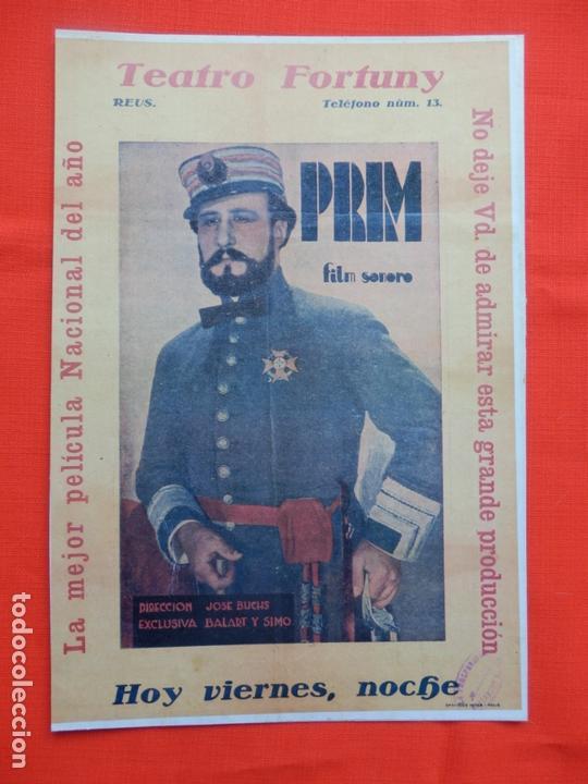 PRIM, PROGRAMA GRANDE FACSIMIL 30X20 CMS, CON PUBLI TEATRO FORTUNY REUS (Cine - Folletos de Mano - Documentales)