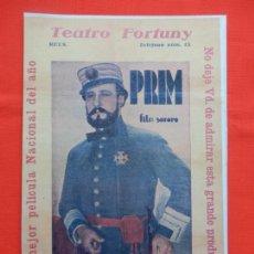 Flyers Publicitaires de films Anciens: PRIM, PROGRAMA GRANDE FACSIMIL 30X20 CMS, CON PUBLI TEATRO FORTUNY REUS. Lote 165777898