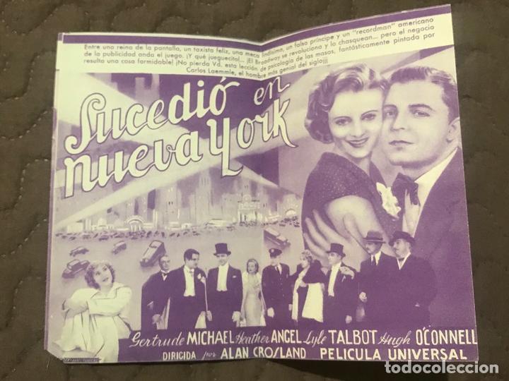 Cine: SUCEDIO EN NUEVA YORK - PROGRAMA DE MANO DOBLE ORIGINAL - AÑO 1935 s/p - Foto 2 - 165834494