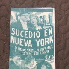 Cine: SUCEDIO EN NUEVA YORK - PROGRAMA DE MANO DOBLE ORIGINAL - AÑO 1935 S/P. Lote 165834494