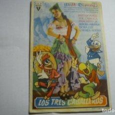 Cine: PROGRAMA LOS TRES CABALLEROS-DISNEY PUBLICIDAD CINEMA JARDIN - CABRA???. Lote 165972146
