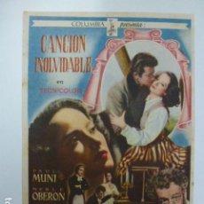 Cine: PROGRAMA DE CINE. CANCIÓN INOLVIDABLE. SIN PUBLICIDAD.. Lote 165973698