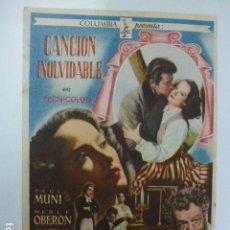 Cine: PROGRAMA DE CINE. CANCIÓN INOLVIDABLE. SIN PUBLICIDAD.. Lote 165973722