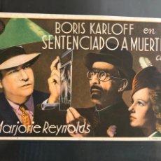 Cine: PROGRAMA SENTENCIADO A MUERTE BORIS KARLOFF. Lote 165980461