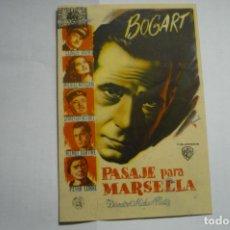 Cine: PROGRAMA PASAJE PARA MARSELLA - H.BOGART. Lote 166015878