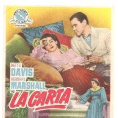 Cine: PTCC 043 LA CARTA PROGRAMA SENCILLO REY SORIA BETTE DAVIS HERBERT MARSHALL RARO. Lote 166111110
