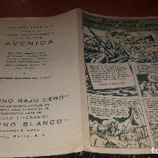 Cine: ALAN LADD EN INFIERNO BAJO CERO, PROGRAMA COMIC EN DIPTICO, CINE AVENIDA. Lote 166144722