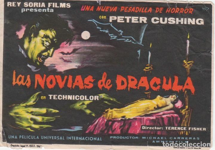 FOLLETO CINE PELÍCULA TERROR LAS NOVIAS DE DRÁCULA, PETER CUSHING, GRAN TEATRO, HUELVA. 1960 (Cine - Folletos de Mano - Terror)
