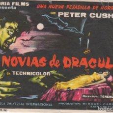 Cine: FOLLETO CINE PELÍCULA TERROR LAS NOVIAS DE DRÁCULA, PETER CUSHING, GRAN TEATRO, HUELVA. 1960. Lote 166156174