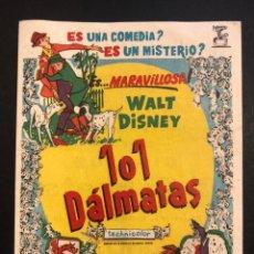 Cine: PROGRAMA 101 DÁLMATAS.WALT DISNEY. Lote 166166392