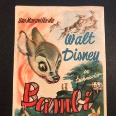 Cine: PROGRAMA BAMBI WALT DISNEY. Lote 166166573