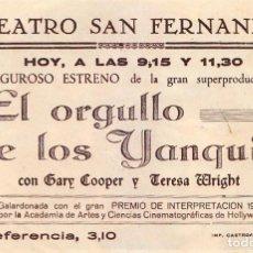 Cine: FOLLETO CINE PELÍCULA EL ORGULLO DE LOS YANQUIS GARY COOPER. TEATRO SAN FERNANDO, SEVILLA. Lote 166175274