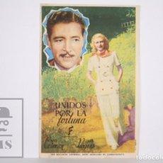 Cine: PROGRAMA DE CINE SIMPLE - UNIDOS POR LA FORTUNA - GINGER ROGERS - PUBLICIDAD AL DORSO. Lote 166266118