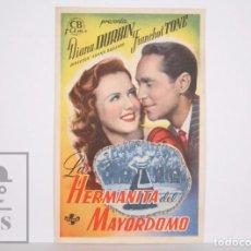 Cine: PROGRAMA DE CINE SIMPLE - LA HERMANITA DEL MAYORDOMO - DIANA DURBIN - UNIVERSAL -PUBLICIDAD AL DORSO. Lote 166266654