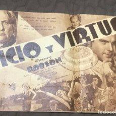 Cine: CINE - PROGRAMA DE MANO - VICIO Y VIRTUD - DOBLE RADIO FILMS - CON PUBLICIDAD - 1935 - 2ª REPÚBLICA. Lote 166272138