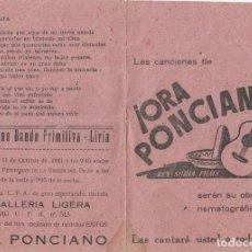 Cine: FOLLETO DÍPTICO CINE PELÍCULA ORA PONCIANO, TEATRO - CINE BANDA PRIMITIVA - LIRIA, VALENCIA 1941. Lote 166413134