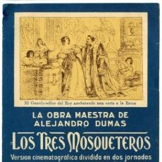 Cine: LOS TRES MOSQUETEROS. CINE MUDO. CARTULINA 12,3X17,3 CM. TEATRO KURSAAL DE ELCHE. ¡¡¡RARÍSIMO!!!. Lote 166574370
