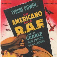 Cine: PROGRAMA DE CINE - UN AMERICANO EN LA RAF - TYRONE POWER - 20TH CENTURY FOX - CINE REGINA (SEVILLA) . Lote 166594982