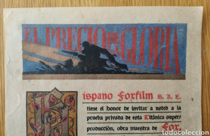 Cine: EL PRECIO DE LA GLORIA - 1926 - PRUEBA PRIVADA - CINE MUDO PATHE CINEMA PROGRAMA DE MANO PUBLICIDAD - Foto 3 - 166605410