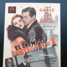Cine: EL ENEMIGO PÚBLICO Nº 1, CLARK GABLE, MYRNA LOY, TARJETA MGM. Lote 166639450
