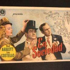 Cine: PROGRAMA BUD ABBOTT Y LOU COSTELLO EN SOCIEDAD. Lote 166642033