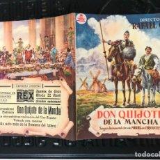 Cine: PROGRAMA DE CINE. DOBLE. DON QUIJOTE DE LA MANCHA PUBLICIDAD CINE REX. Lote 166714826