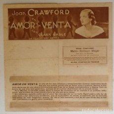 Cine: AMOR EN VENTA, JOAN CRAWFORD, CLARK GABLE, MGM AÑOS 30. Lote 166913156
