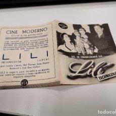 Cine: PROGRAMA DE MANO ORIG DOBLE - LILI - CINE MODERNO. Lote 166977888