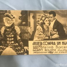 Cine: JULIETA COMPRA UN HIJO, CATALINA BARCENA, GILBERT ROLAND, ATENEU CATALA DE SALLENT, 1935. Lote 167125172