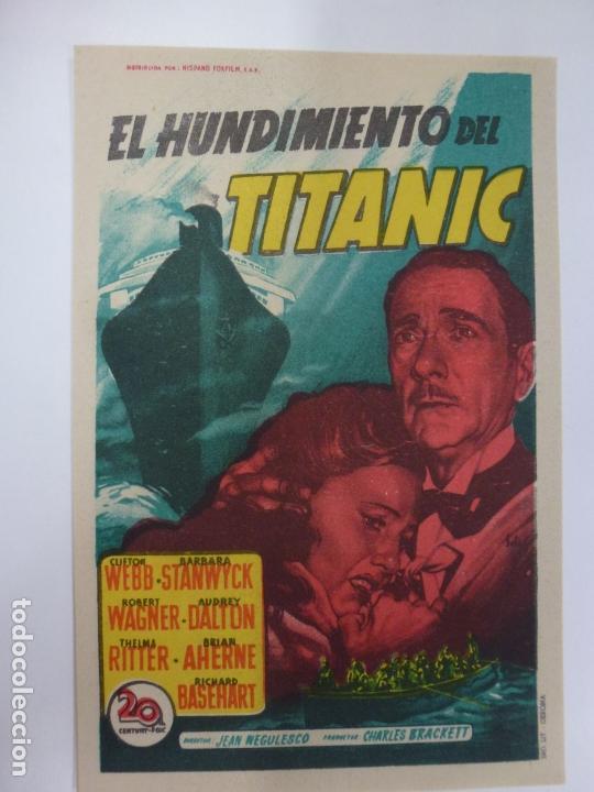 PROGRAMA DE CINE. EL HUNDIMIENTO DEL TITANIC. SIN PUBLICIDAD. (Cine - Folletos de Mano - Drama)