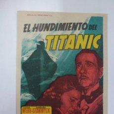 Cine: PROGRAMA DE CINE. EL HUNDIMIENTO DEL TITANIC. SIN PUBLICIDAD. . Lote 167129060