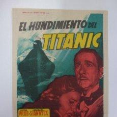 Cine: PROGRAMA DE CINE. EL HUNDIMIENTO DEL TITANIC. SIN PUBLICIDAD. . Lote 167129076