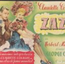 Cine: PROGRAMA DE CINE - ZAZA - CLAUDETTE COLBERT - CIFESA - CINE GOYA - 1938.. Lote 167603324