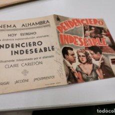 Cinema - PROGRAMA DE MANO ORIG DOBLE - PENDENCIERO INDESEABLE - CINE DE ZARAGOZA - 167796072